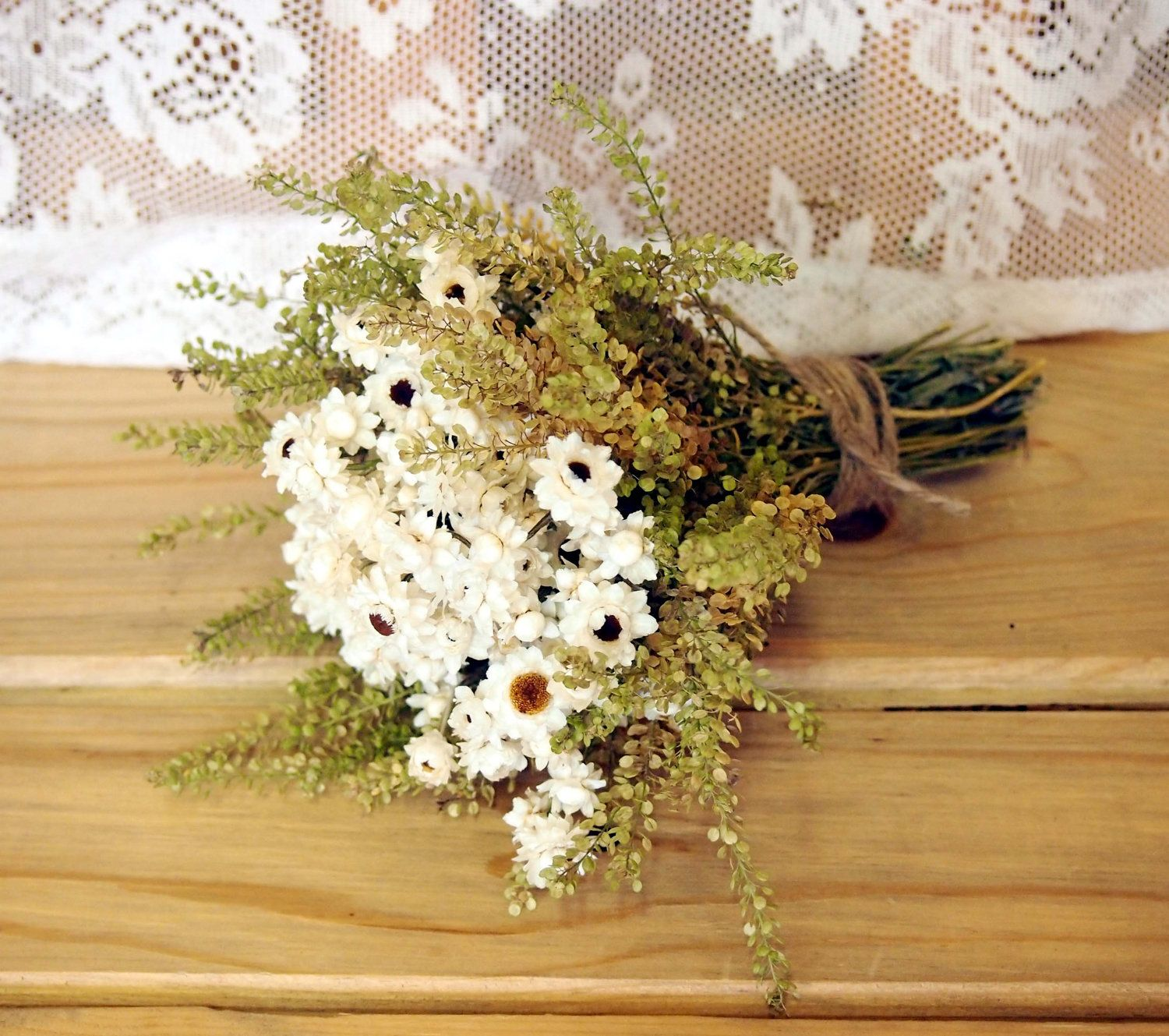 Ivory and green dried flower wedding bouquet preserved bridal