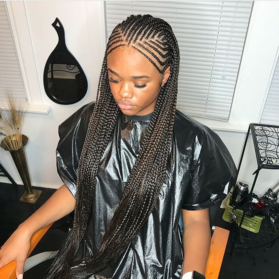 Nubian braids with single rows by Chicago braider @conay_control ...