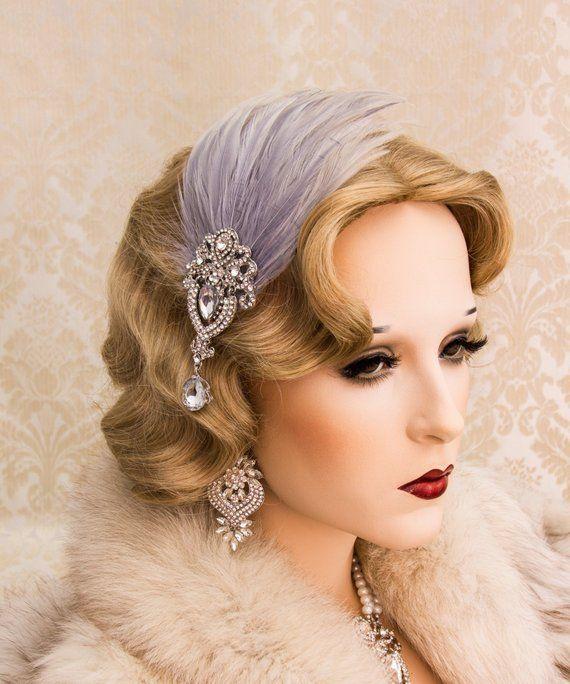 Great Gatsby Headpiece Flapper Headband Feather Headband 1920s Jewelry Art Deco Earrings