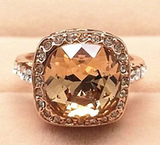 PIN IT TO WIN IT! We give away one item EVERY DAY. Just pin or repin with the tag #beeskneesgems to be eligible. Cushion Cut Champagne Crystal Plated in 18K Rose Gold. The highlight of this vintage ring is a cushion cut Swarovski Crystal in champagne, surrounded by small diamond Swarovski crystals.  www.beeskneesgems... #love $44.00