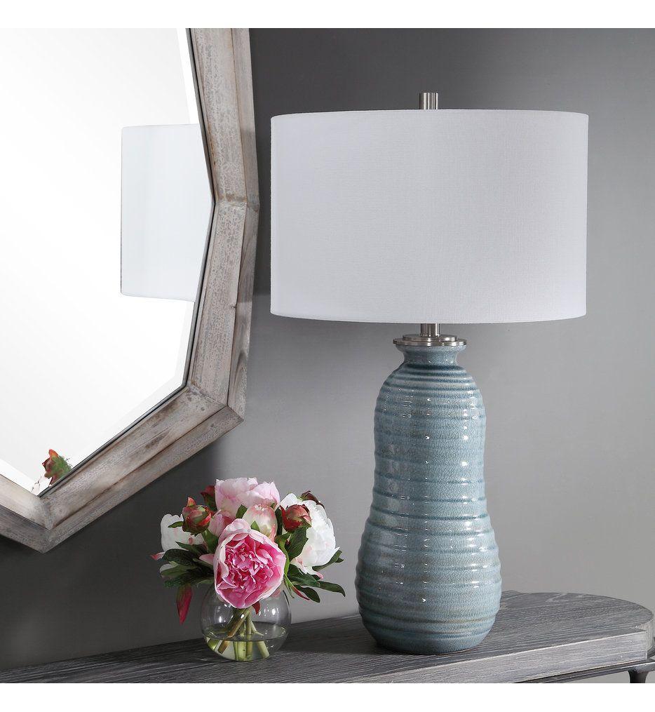 Uttermost 26362 1 Zaila Light Blue Table Lamp In 2020 Blue
