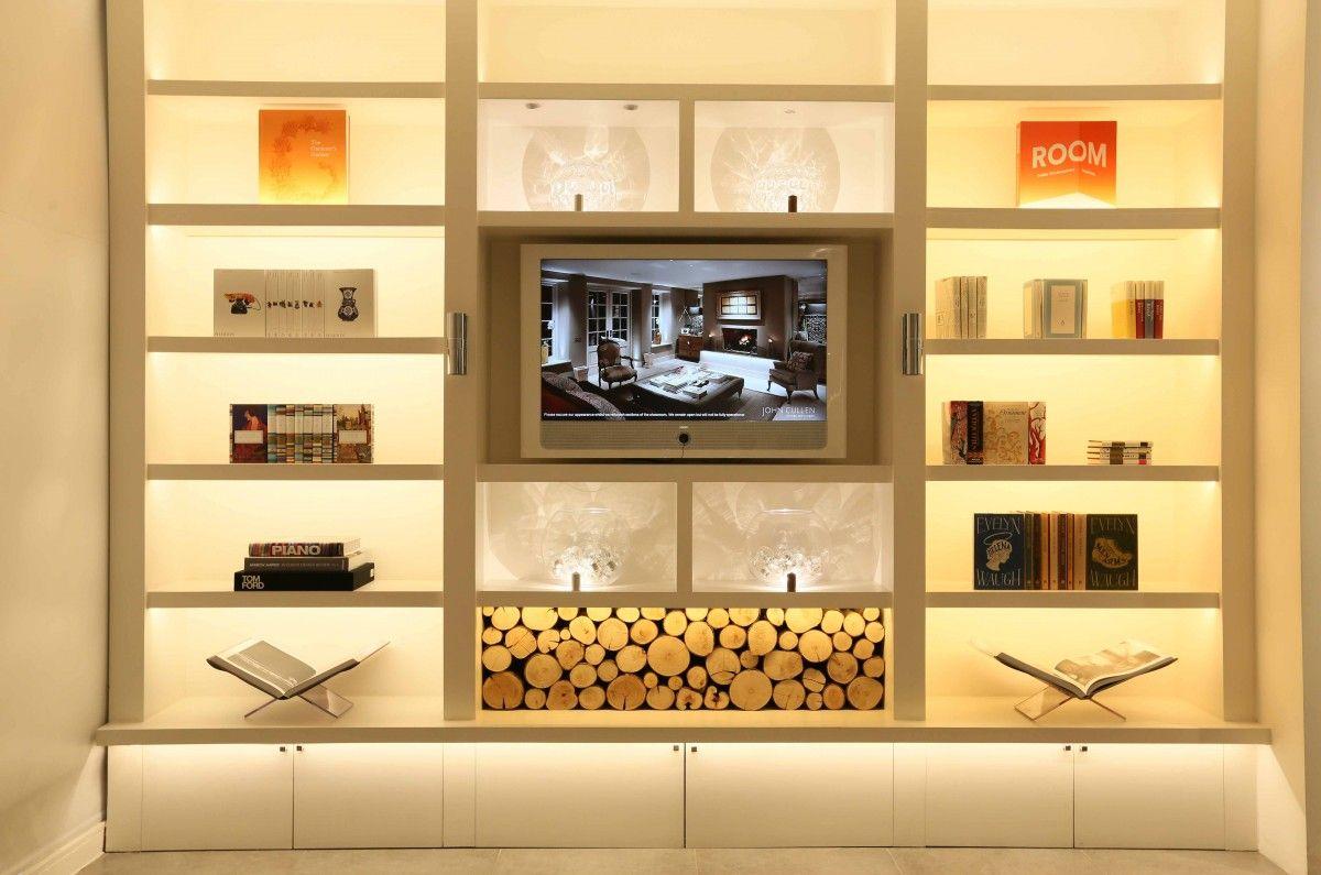 Front lighting on John Cullen Lighting shelves | Built in wall ...