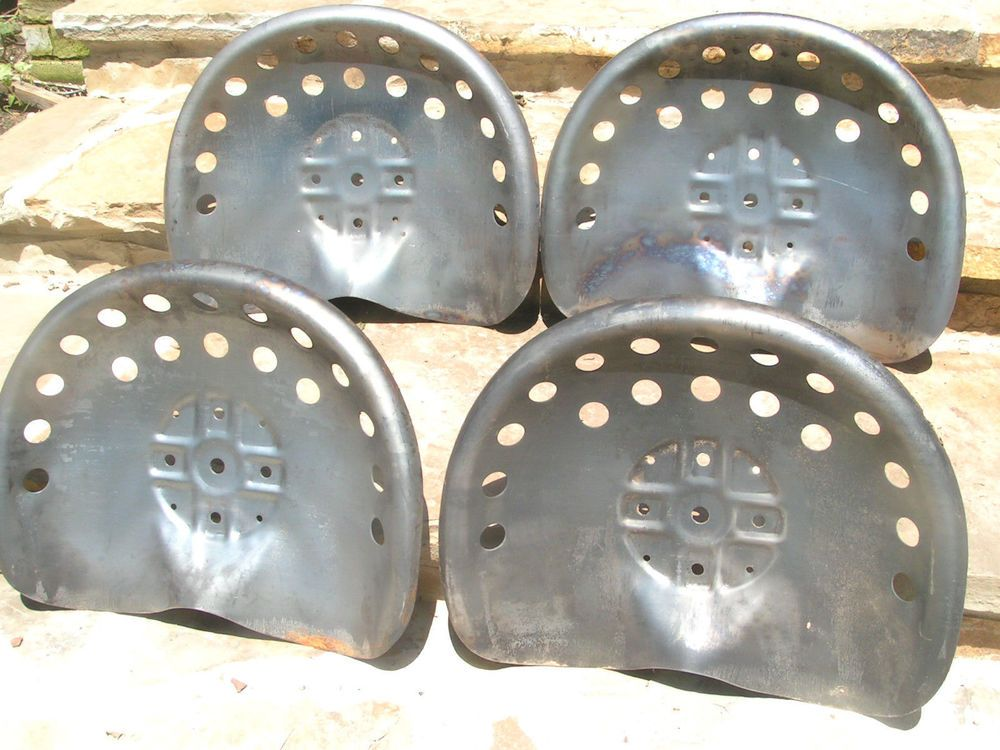 Four Steel Tractor Seats Metal Farm Or Bar Stool Tops Pan Style