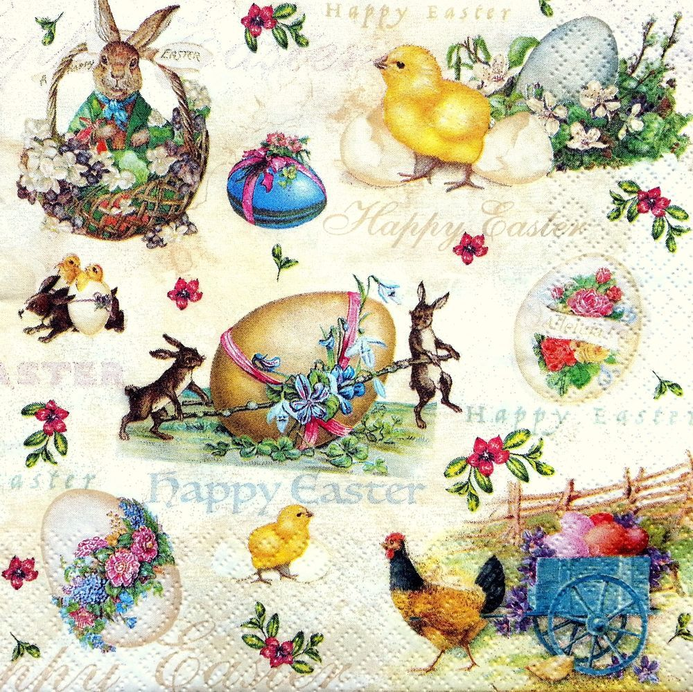 4 Lunch Paper Napkins  Decoupage Craft Vintage Party Napkin Easter Wreath