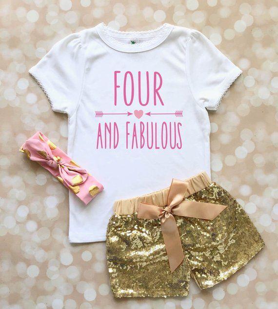 1a2a9b5ff Four and Fabulous 4th Birthday Shirt for Girl - Fourth Birthday Outfit for  Girl - Fourth Birthday Sh