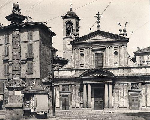 San Babila prima del rifacimento in stile della facciata 1870-80 | da Milàn l'era inscì