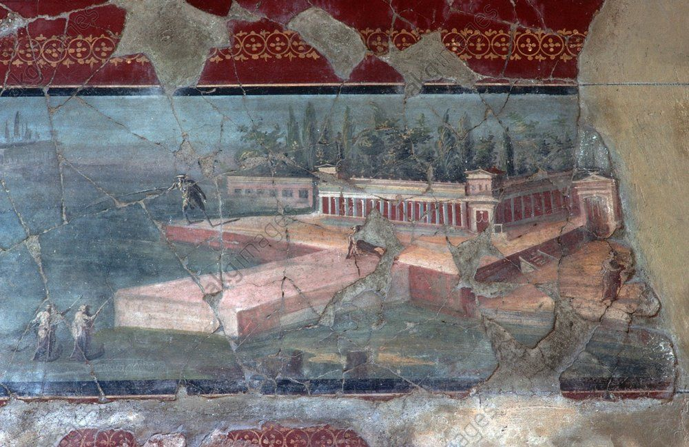 Pompeii, House of Menander (Casa del Menandro, I, 10,4), Detail of the wall decoration in the atrium depicting a large villa. Wall painting (late 1st century CE) in the Gulf of Naples (Italy, Campania). Pompeii, Campania, Italy.