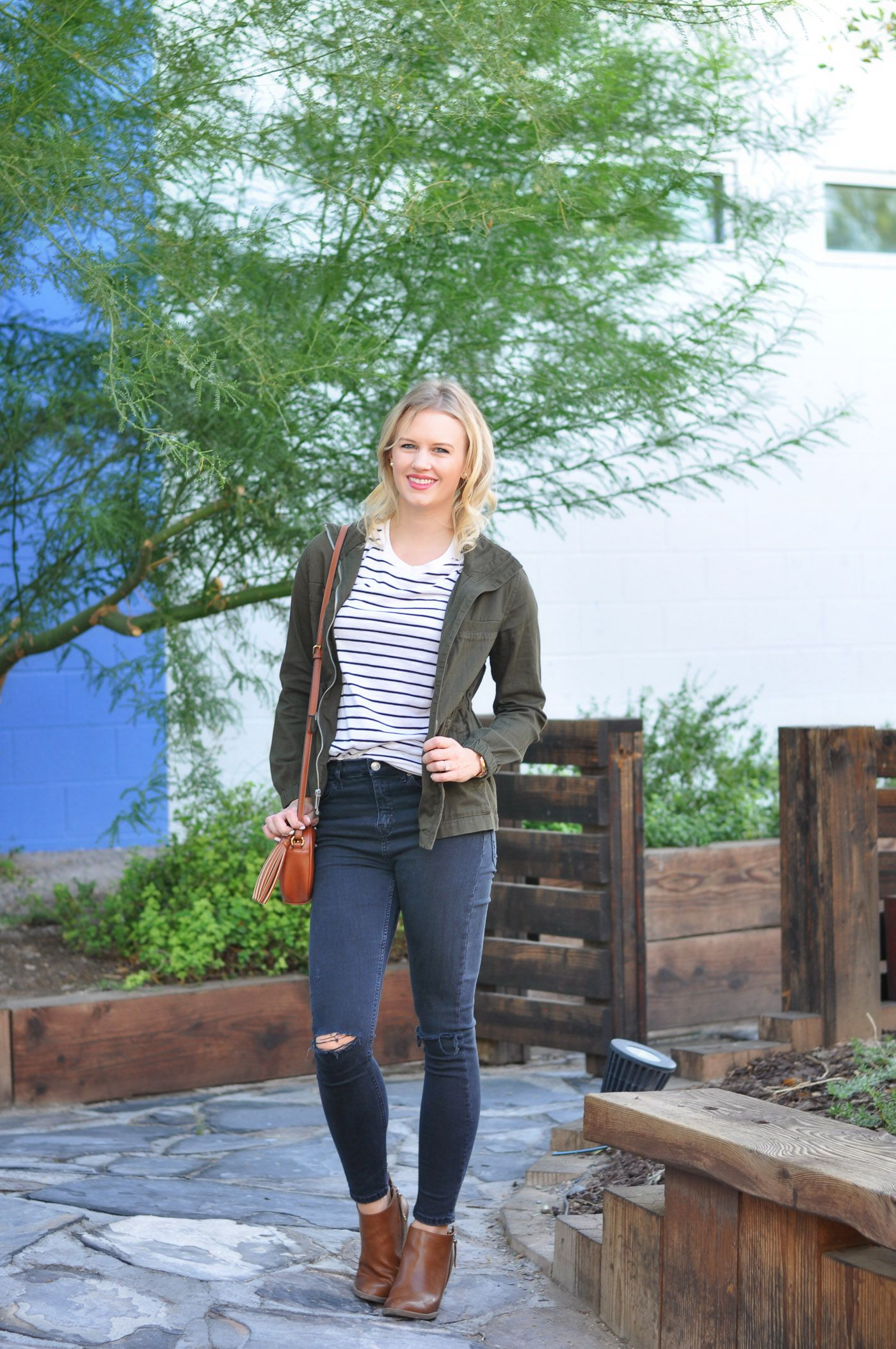 4 Ways To Style Jeans & A T-Shirt, fall fashion, fall outfit idea, striped T-shirt, brown booties, green jacket