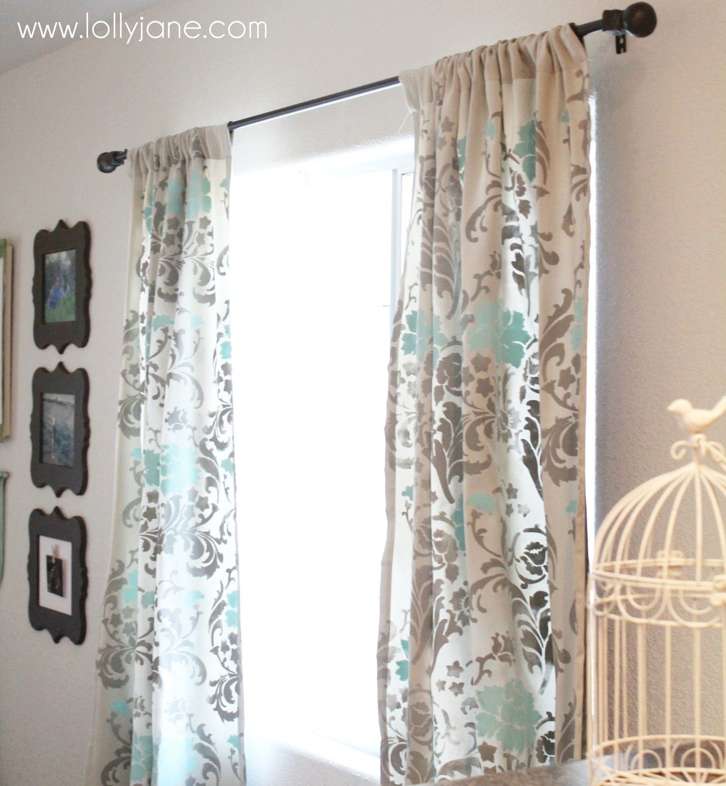Stenciled curtains stenciled curtains floral curtains and diy