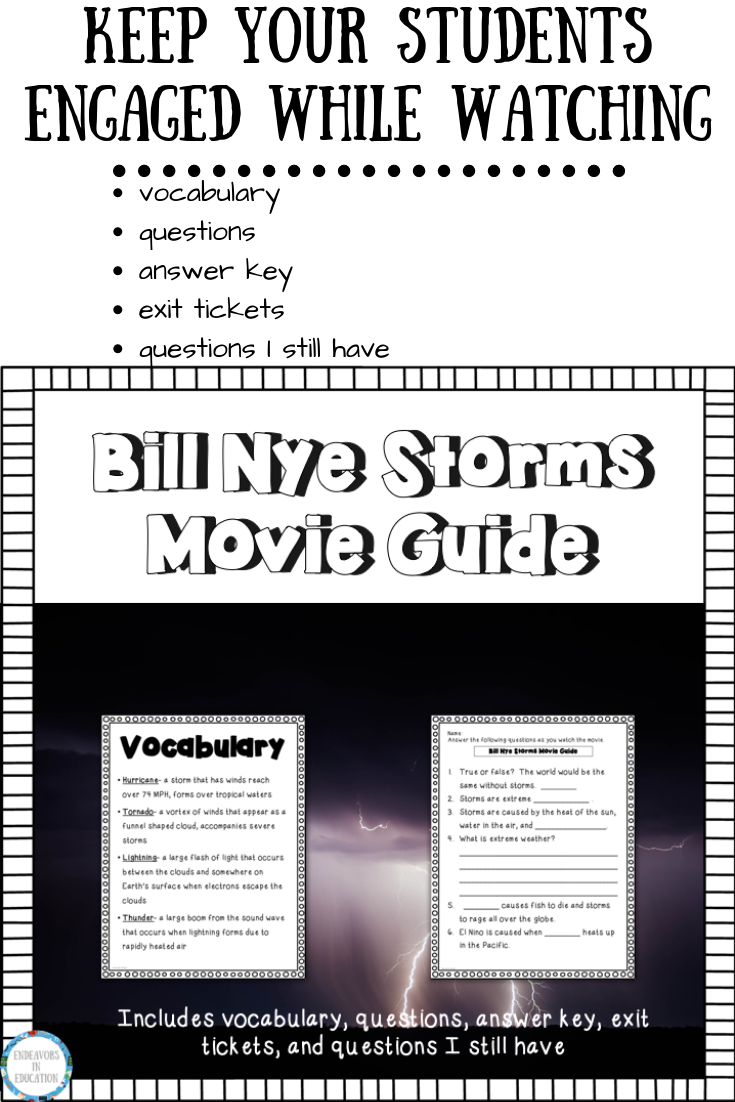 Keep Your Elementary Students Engaged While Watching Bill Nye S Video On Storms This Movie Guide Includes Vocabulary Hurricane To Bill Nye Storm Vocabulary