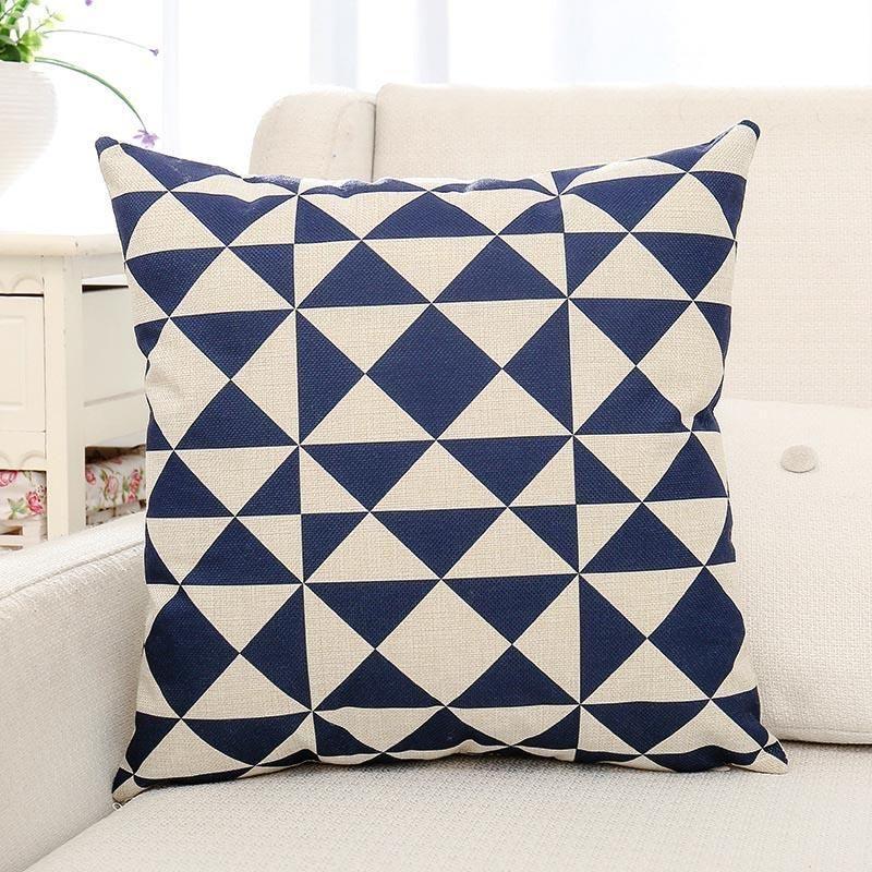 Blue Geometric Printed Cushion Pillow Pillows Pillow Cushion
