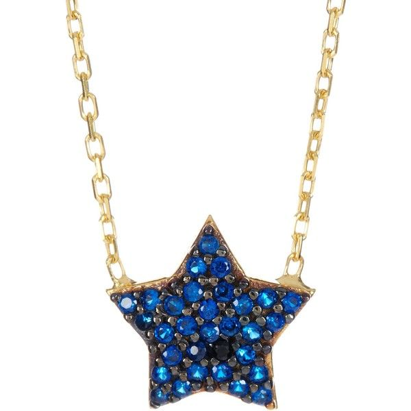 natural sterling silver sapphire pendant gold necklace star silvergold blue