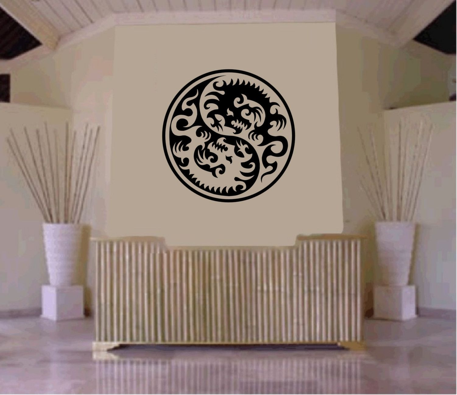 Tribal Yin Yang Dragon Decal Sticker Wall Decal Art Asian - Vinyl wall decals asian