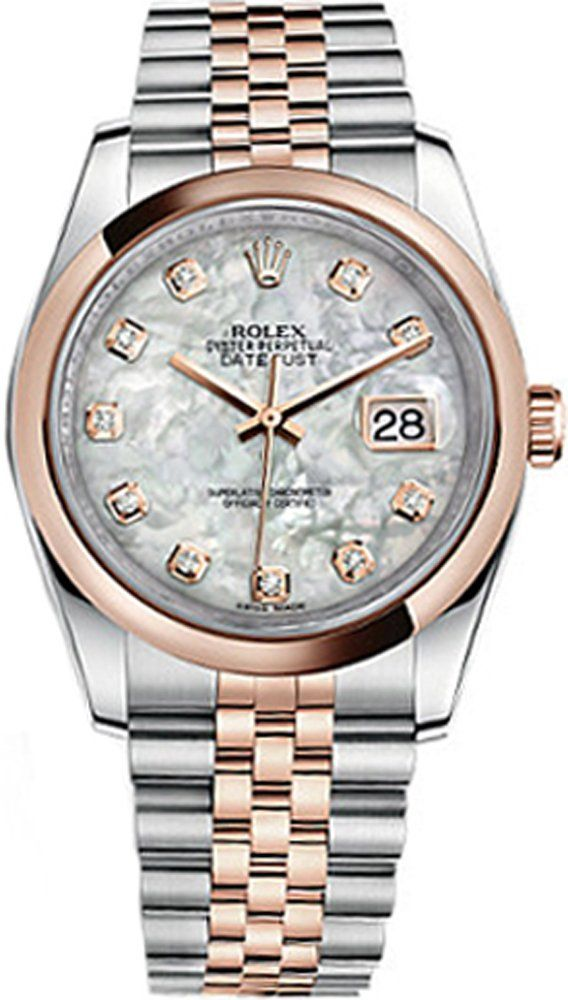 Rolex Datejust 36 116201. Discounted Rolex Datejust 36 116201. Below Retail and Guaranteed Authentic. White Mother of Pearl Dial with Diamonds. Solid 18K Rose Gold Domed Bezel. Solid 18K Gold with Stainless Steel Case & Jubilee Bracelet.