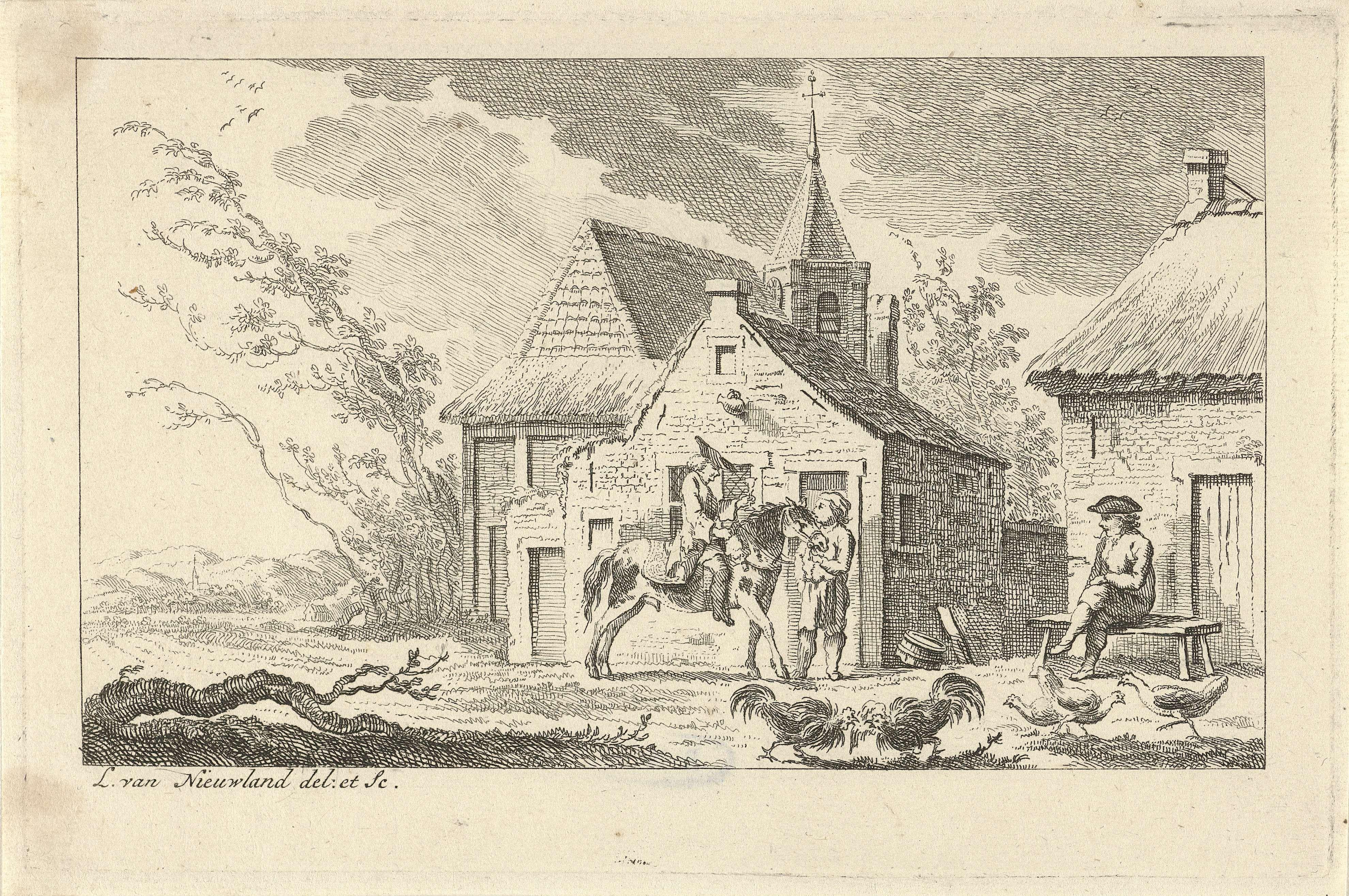 Isaac Lodewijk la Fargue van Nieuwland | Erf met ruiter, Isaac Lodewijk la Fargue van Nieuwland, 1763 | Erf met ruiter en twee figuren, op de achtergrond een kerk.