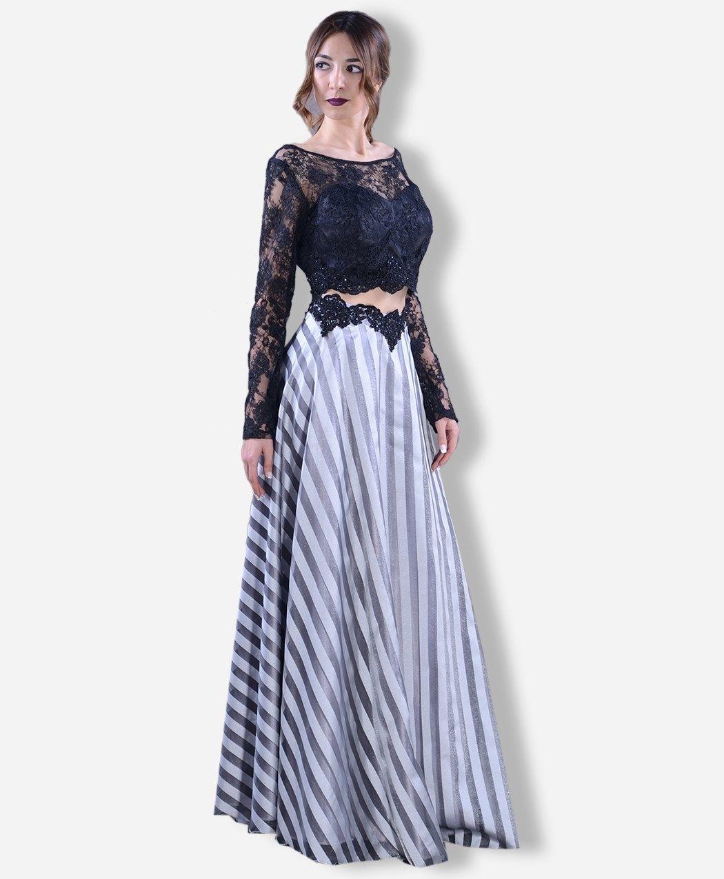 Ust Parcasi Dantel Ikili Abiye St5248 Elbise Elbise Modelleri Dantel
