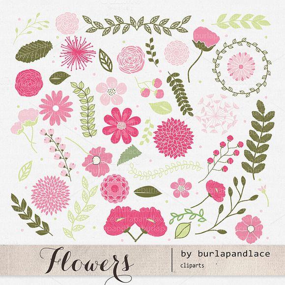 Flower Clipart By Burlapandlace On Creative Market Creative
