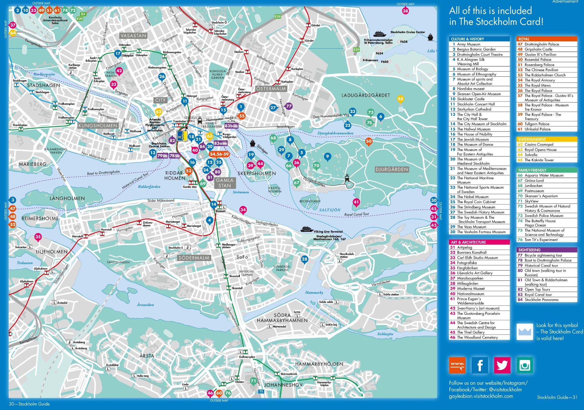 Stockholm tourist attractions map Stockholm Pinterest
