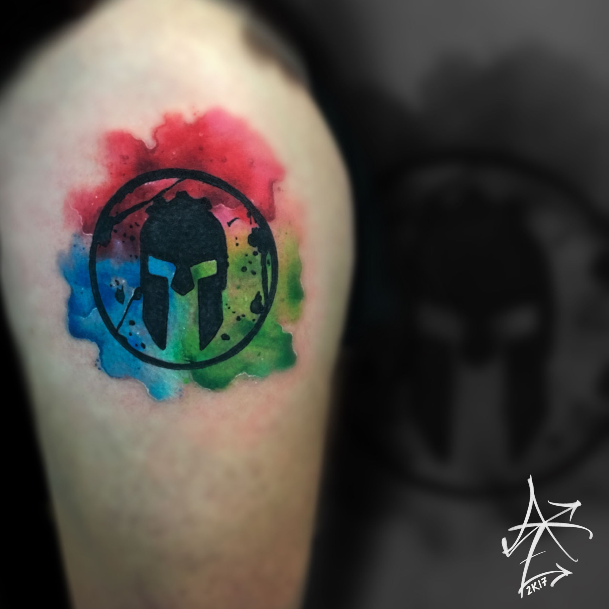 Image result for spartan watercolor tattoo