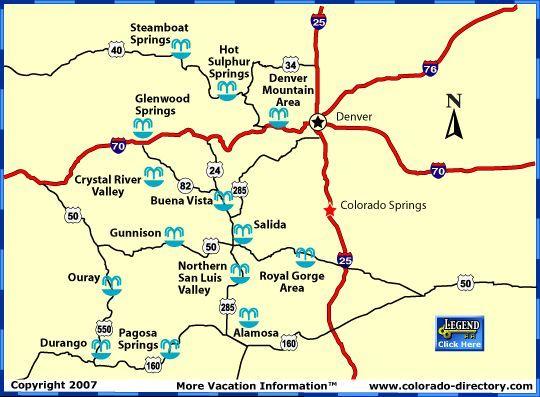 Karte Der Standorte Von Colorado Hots Springs Bietet Auch Eine
