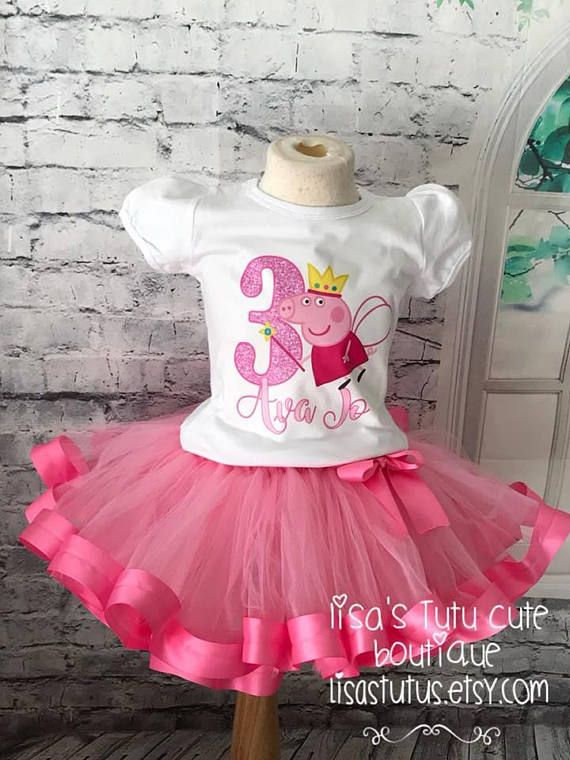 Peppa Pig Birthday Party 5th Tutu Outfit Personalized Name option