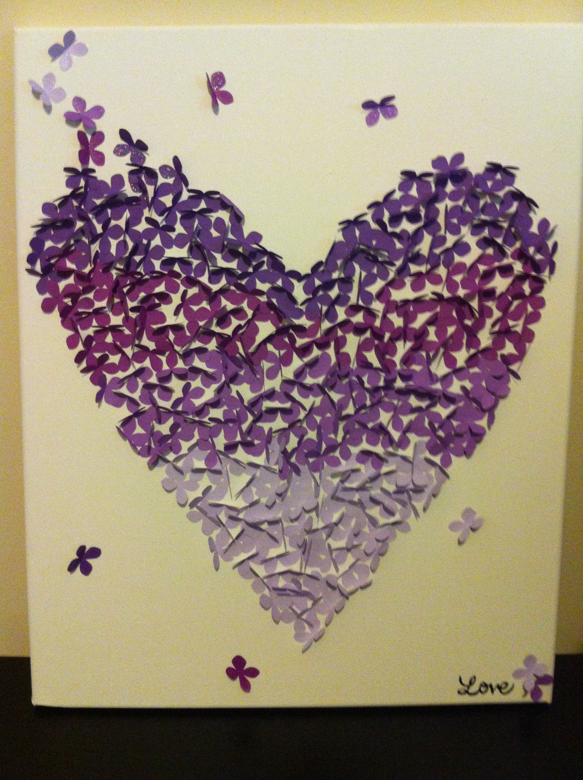 Purple DIY Canvas Wall art (ombre butterfly) for my room