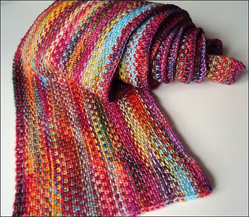 Knitting Slip Stitch Yarn Front : Linen stitch scarf: Cast on lengthwise. Linen stitch is R1: k1, slip 1 with y...