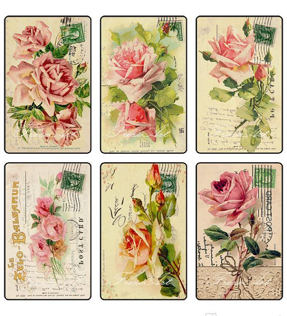 Botanical Gift Tags Rose Collage Sheet Aged Paper and Flower Labels Printable Tags