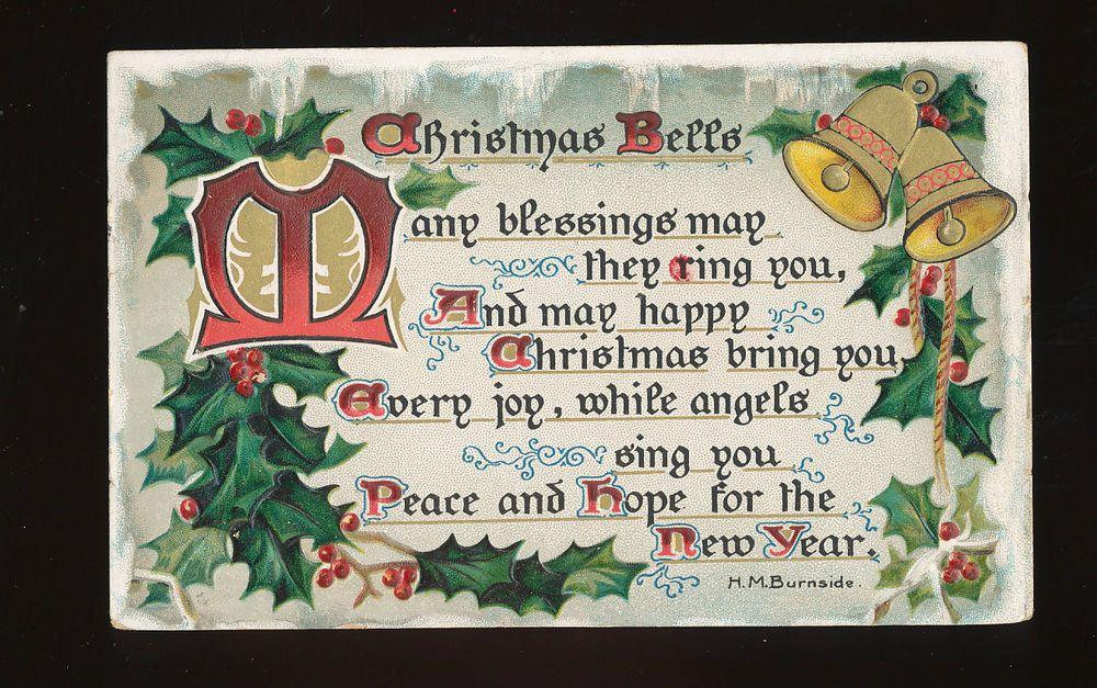 Vintage Christmas Greetings Postcard, , Tuck, Bells, Poem