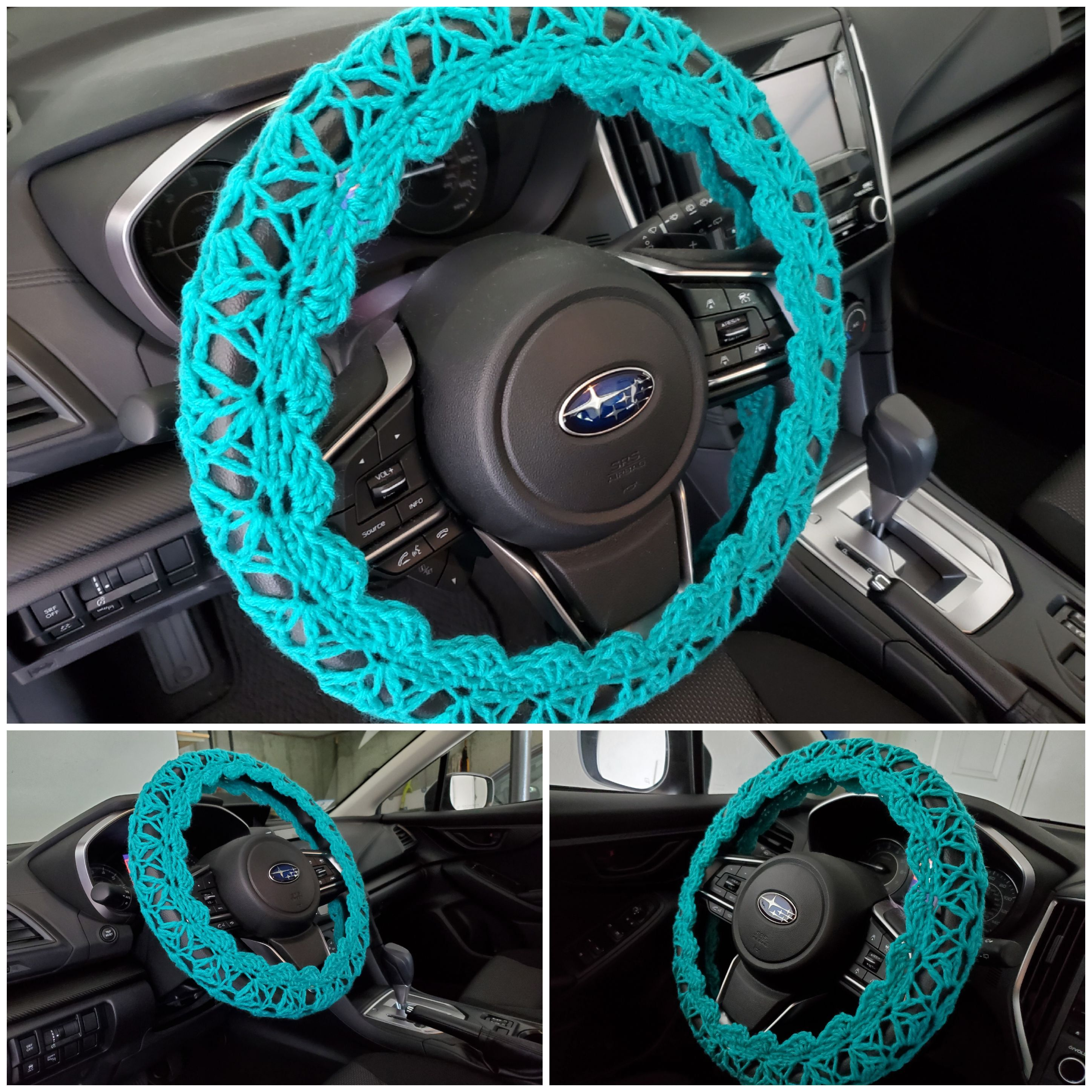Crochet steering wheel cover with loose stitches steering