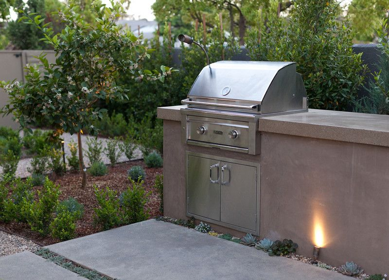 Bbq With A Smooth Stucco Face And Polished Concrete Countertop Concrete Outdoor Kitchen Backyard Trampoline Outdoor