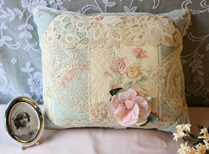 Vintage lace patchwork pillow pink,blue,green&ivory