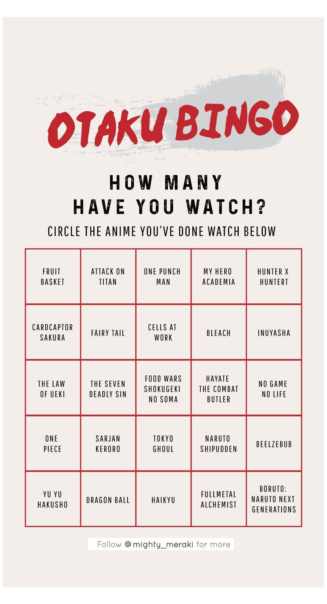 Otaku Bingo Anime Bingo Template Anime Bingo For Ig Story Animes To Watch Netflix Anime Bingo Template