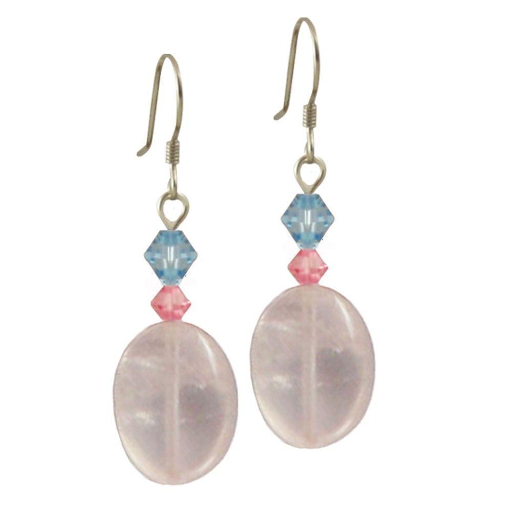 Fontaine Rose Quartz and Swarovski Crystal Drop Pierced Earrings