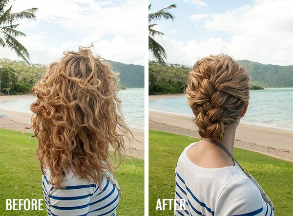 New Video Tutorial Tucked French Braid Updo In Curly Hair