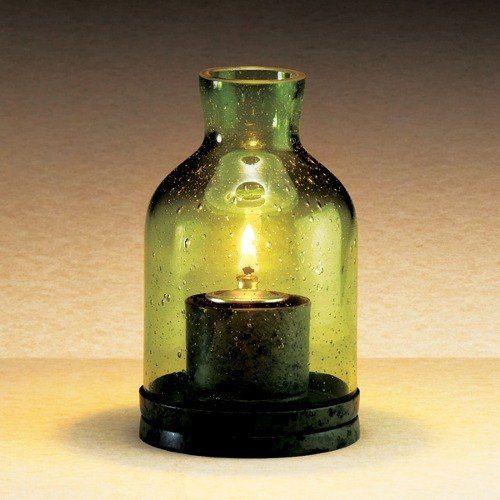"SternoCandleLamp 80136 4 1/2"" Glass Lantern Table Lamp - Green"