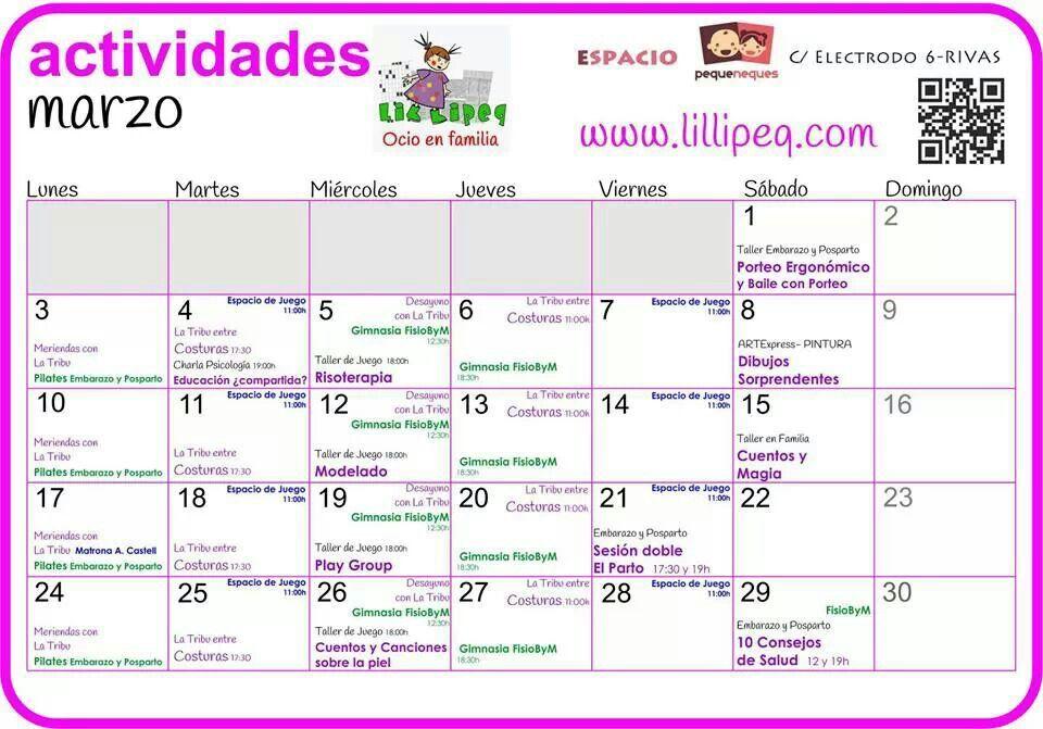 Calendario de marzo! Más info en www.lillipeq.com