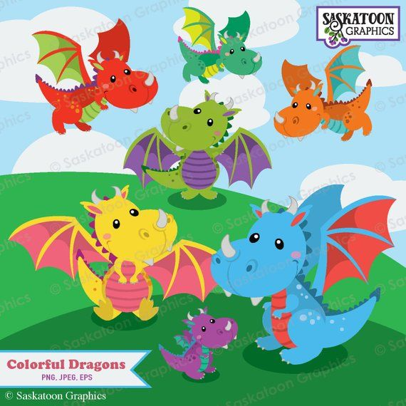 Baby dragon. Cute clipart instant download