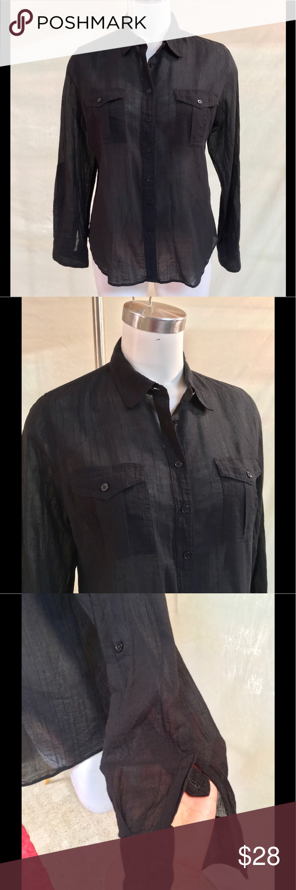 Talbots Black Button Down The perfect summertime black button down shirt! From Talbots. The sleeves can be buttoned to make it 3/4 length. Slightly sheer. Comfy. Size 14 petite and good condition! Talbots Tops Button Down Shirts