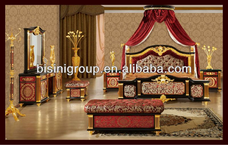 Royal Bedroom Set Italian Luxury Style Wedding Furniture 24k Gold Plated View