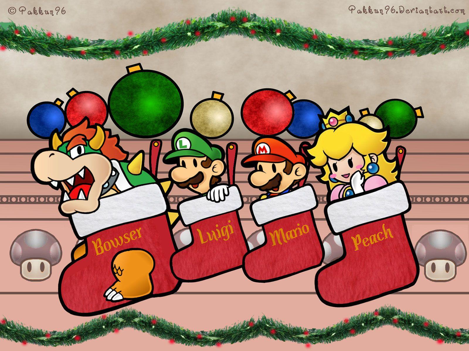 Super Mario Characters In Christmas Socks Wallpaper