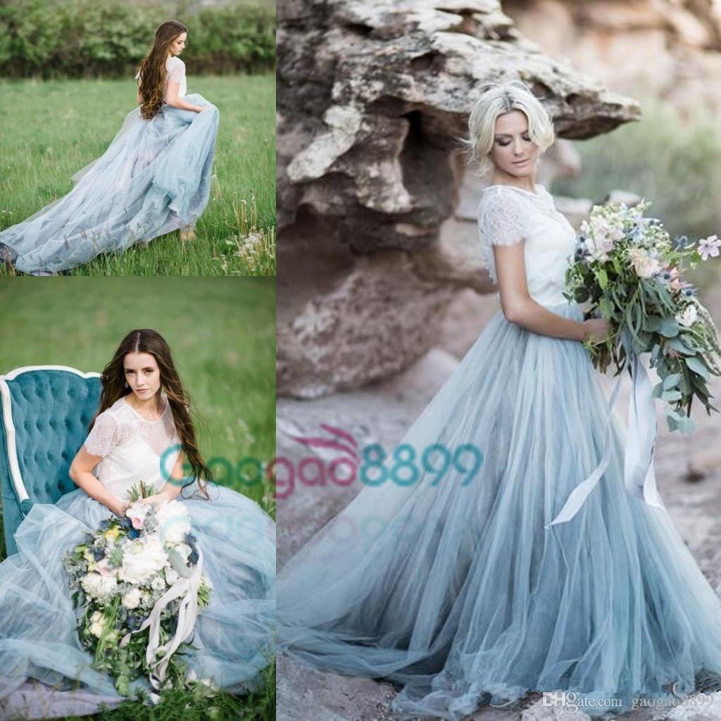 Sky Blue vestido de novia 2017 Modest Tulle Country Wedding Dresses ...
