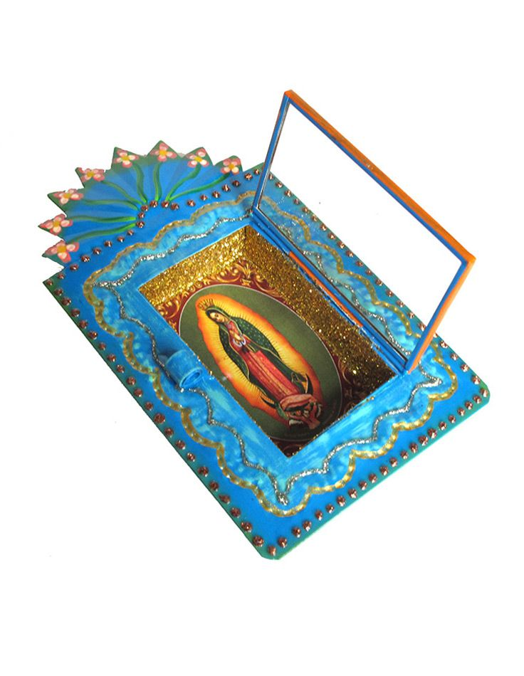 Lady of Guadalupe tin nicho is made by Mexican tinsmith Jaime