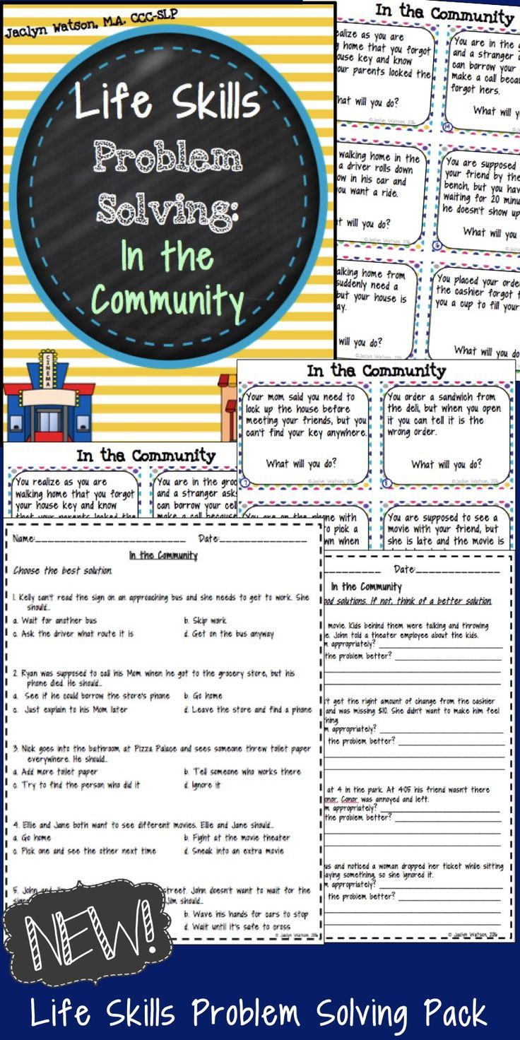 worksheet Life Skills Worksheets High School life skills problem solving in the community high this pack is for middlehigh school students with autism or social challenges spark discussion about