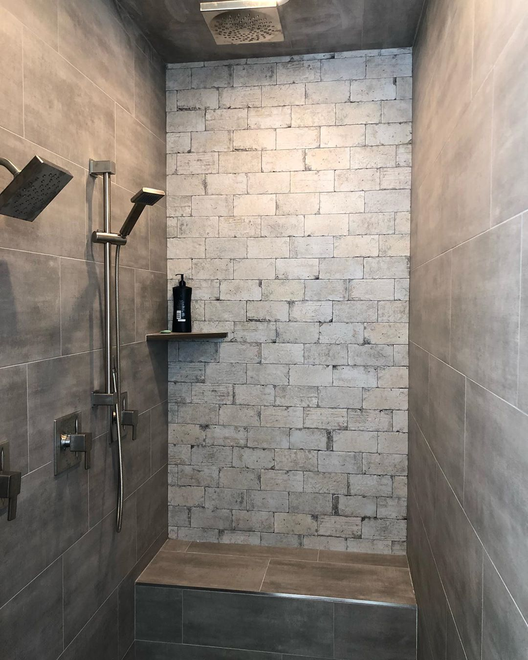 Brick Tile Accent Wall In The Shower Yes Please We Love This Product And Have Used It For A Tile Accent Wall Shower Accent Tile Industrial Bathroom Design