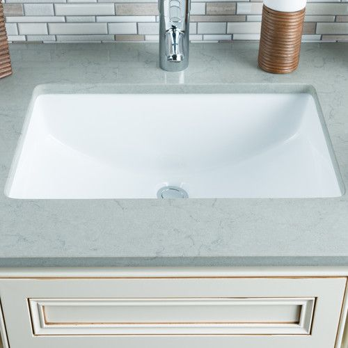 Ceramic Rectangular Undermount Bathroom Sink With Overflow