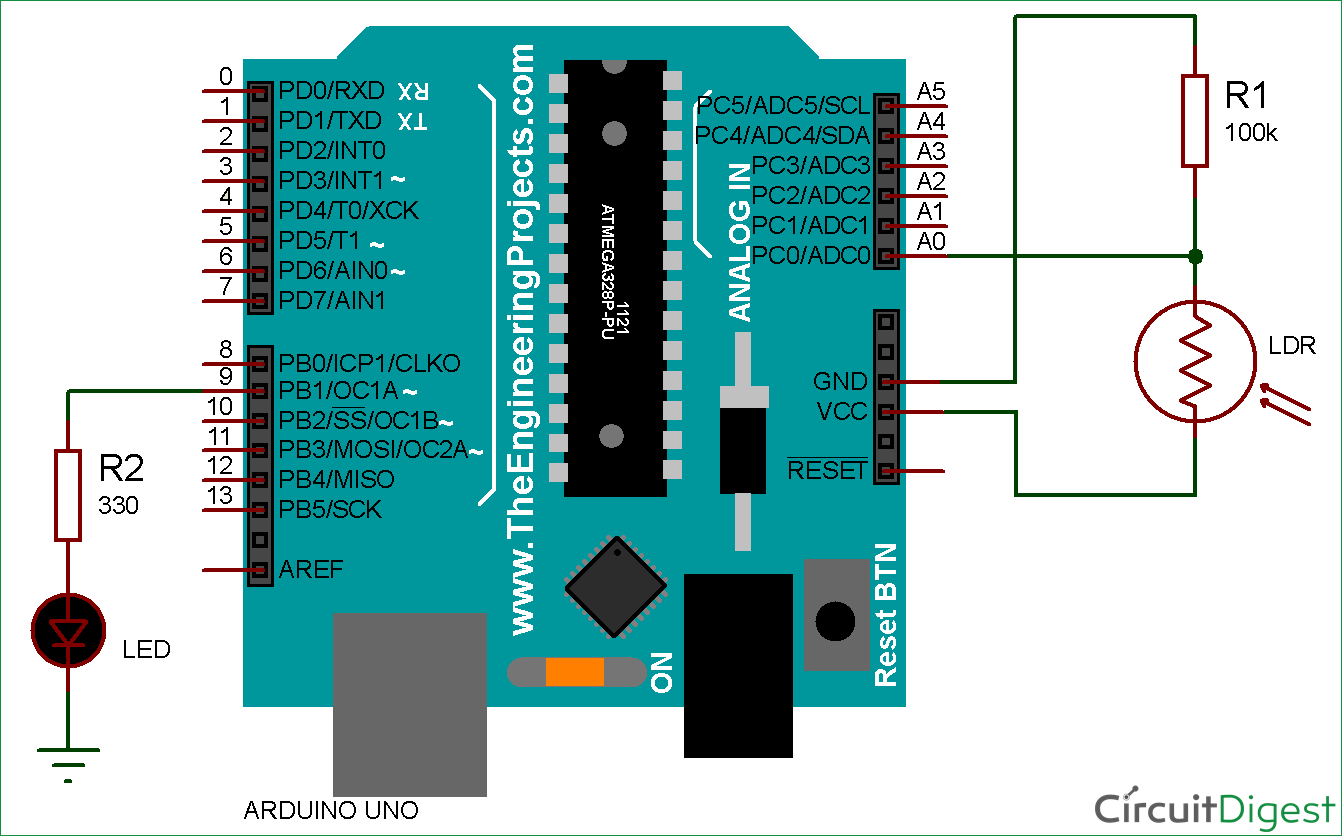 arduino light sensor circuit diagram using ldr electronic circuits rh pinterest com light dimmer switch wiring diagram motion sensor wiring diagram [ 1342 x 836 Pixel ]