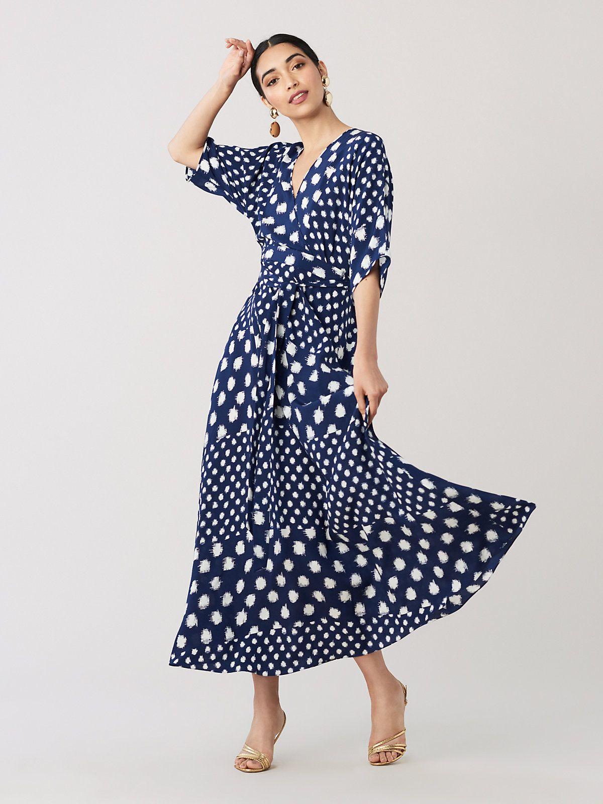 eed66919ad Diane von Furstenberg Eloise Silk Crepe De Chine Maxi Wrap Dress in ...