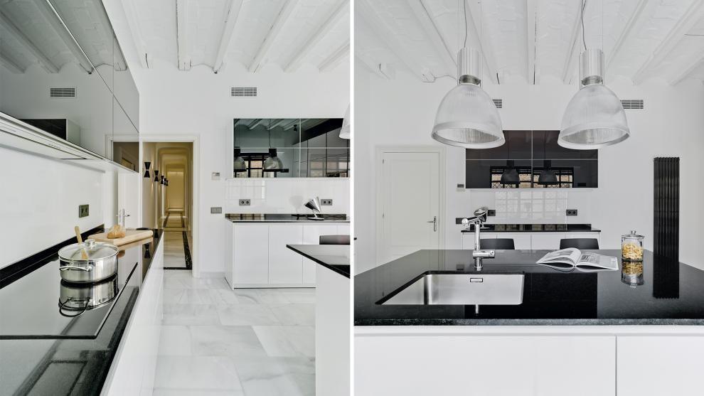 Vivienda equipada con el diseño de cocina LINE-L Blanco Polar de