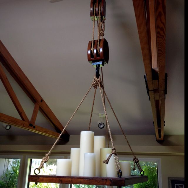 Rustic Light Industrial Chandelier Rope Pulley By: Block And Tackle Chandelier Using Antique Ship Grate